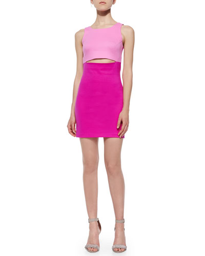 Colorblock Peek-A-Boo Scuba Dress, Two-Tone Pink