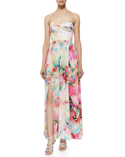 Gisele Floral Silk Maxi Dress, Gardenia