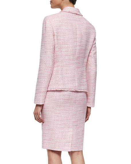 Long-Sleeve Tweed Skirt Suit