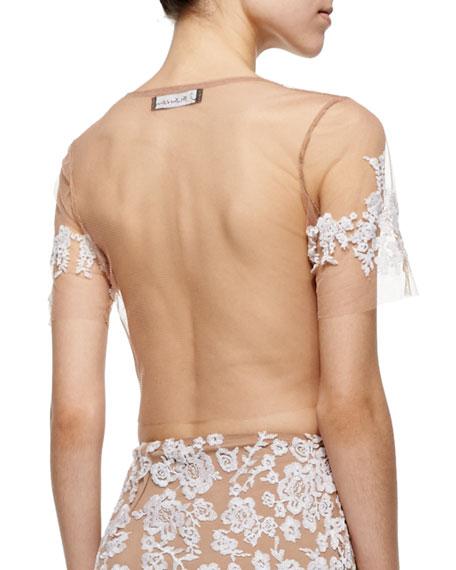 Luau Embroidered Mesh Crop Top