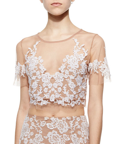 Luau Embroidered Mesh Crop Top