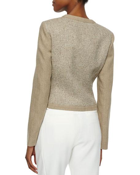 Two-Tone Long Sleeve Jacket, Hemp