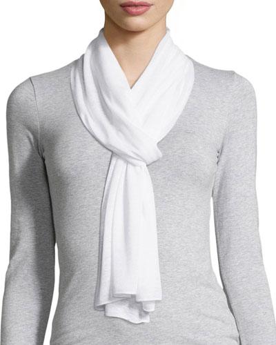 Linen-Blend Scarf, White