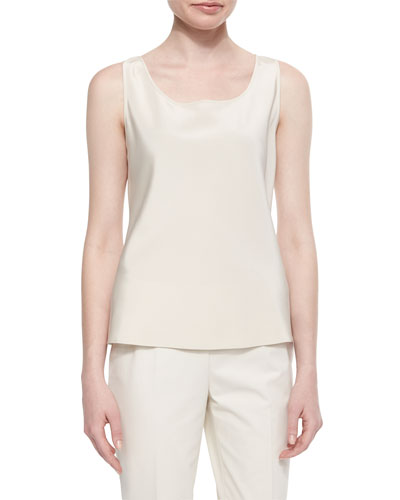 Sleeveless Silk Bias Tank, Raffia
