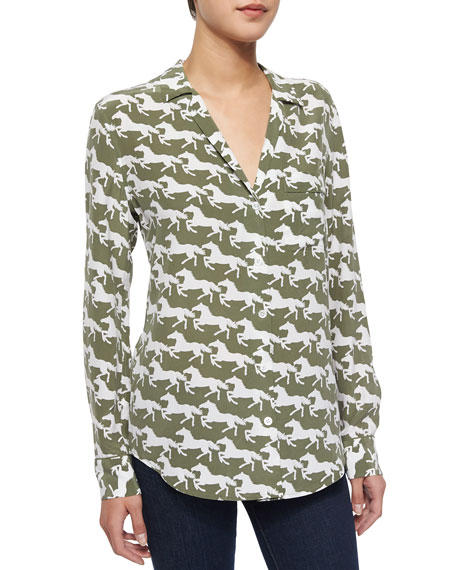 Equipment Keira Silk Horse Print Blouse Army Jacket White