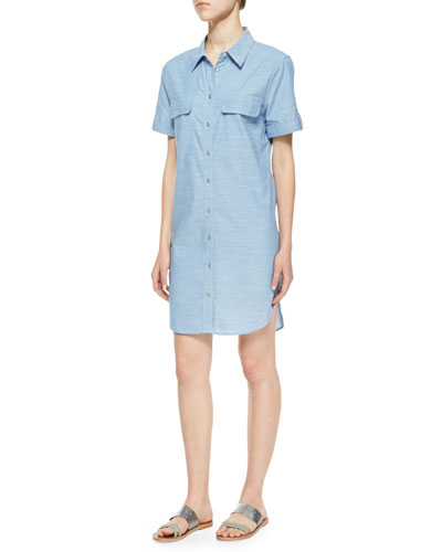Slim Signature Cotton Shirtdress, Blue