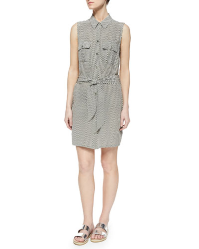 Jody Sleeveless Diamond-Print Shirtdress, Gray/White