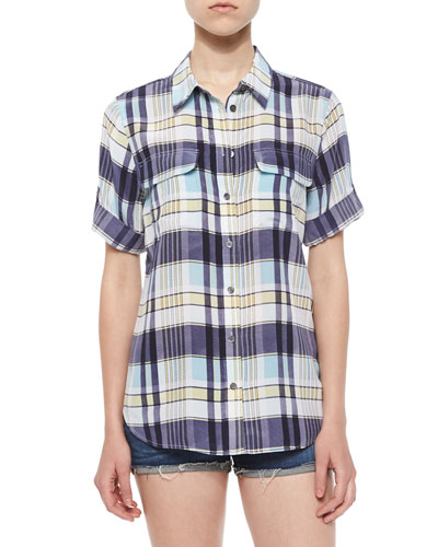 Slim Signature Short-Sleeve Silk Shirt, Dusty Blue