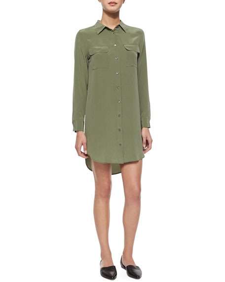 Equipment Slim Silk Signature Shirtdress, Green