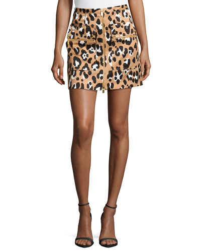 Zip-Front Printed Mini Skirt, Suntan Multi