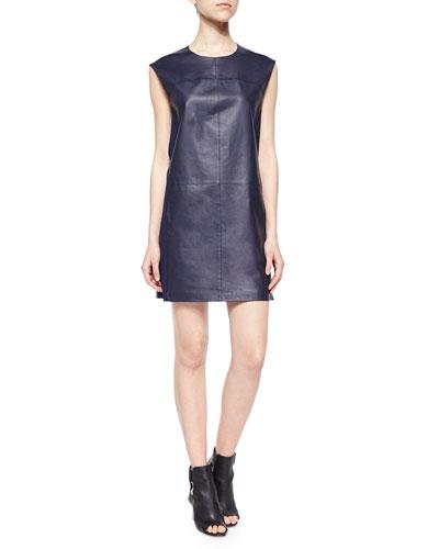 Sleeveless Leather Shift Dress