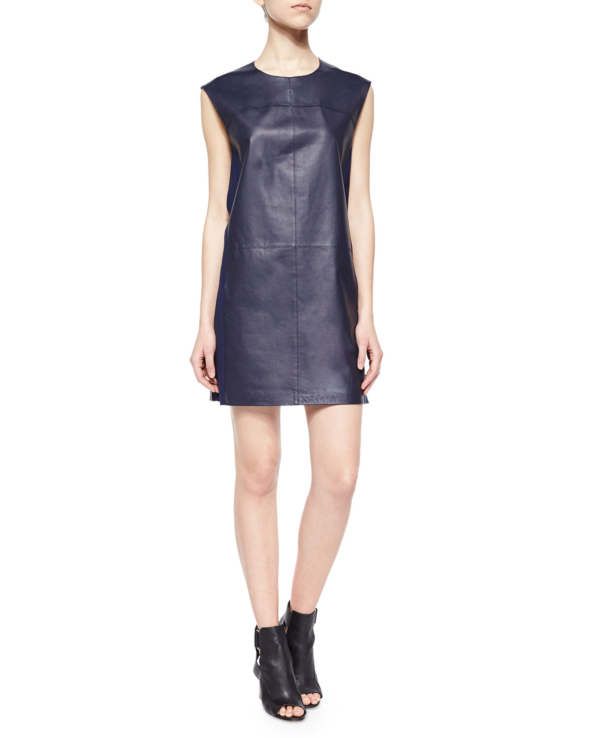 2b011911fb5 Vince Sleeveless Leather Shift Dress | Neiman Marcus