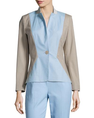 Regan One-Button Colorblock Jacket