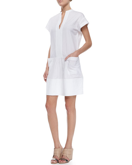 Vince Cuffed-Sleeve Stretch Poplin Dress