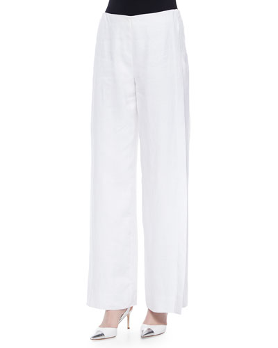 Lined Wide-Leg Linen Pants, White