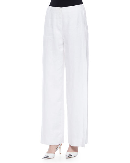 Lafayette 148 New York Lined Wide-Leg Linen Pants, White