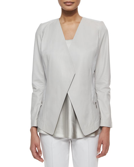 Lafayette 148 New York Florencia Leather Jacket, Sterling