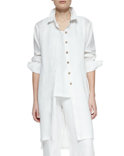 Long-Sleeve Linen Duster, Women