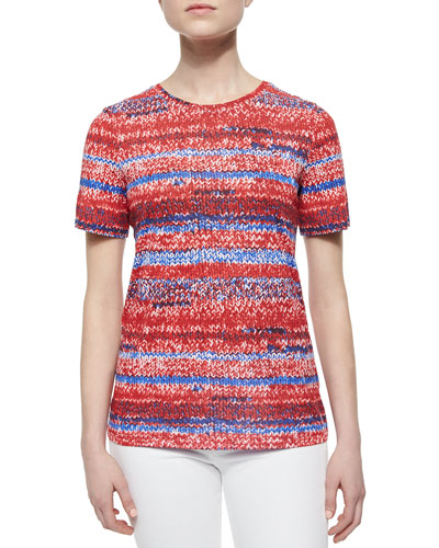 Short-Sleeve Knit-Print Jersey Tee, Brilliant Red