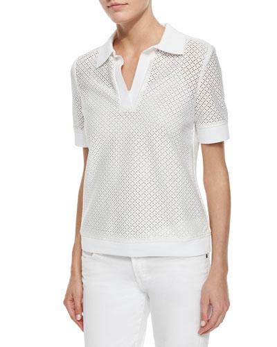 Short-Sleeve Eyelet Polo Shirt, White
