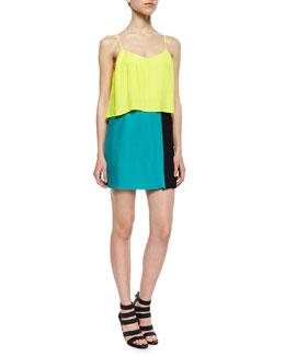 Jett Tiered Colorblock Dress, Sunbeam