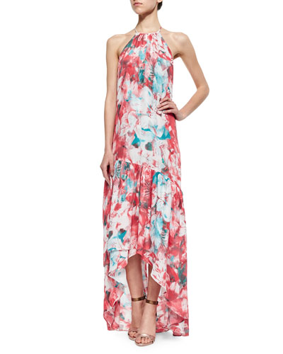 Kansa Floral-Print Tiered Dress, Salsa Monet