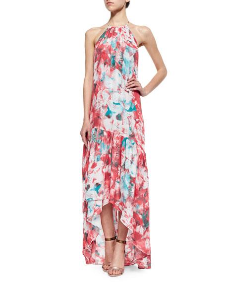 Parker Kansa Floral-Print Tiered Dress, Salsa Monet