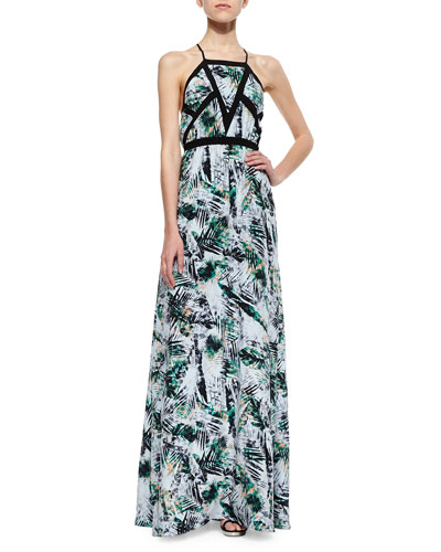 Sams Tropical-Print Maxi Dress, Freshwater Amazon