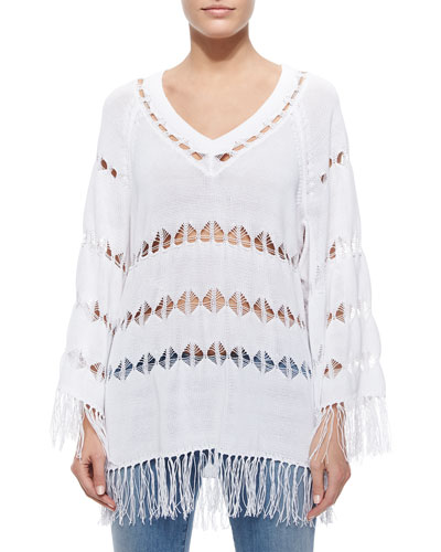 Bobbi Geometric Open-Weave Poncho, Summer White