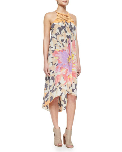 Aliya Floral-Print Silk Dress