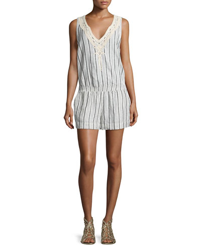 Striped Embroidered Sleeveless Romper