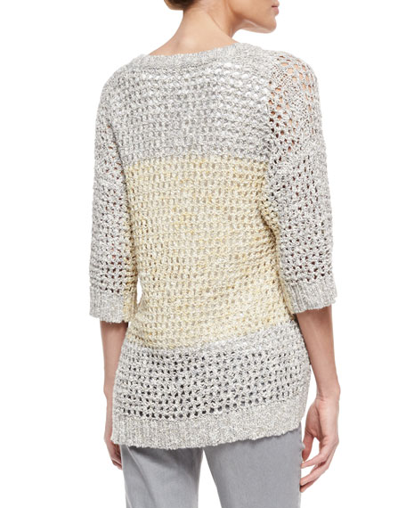 Colorblock Eyelet-Stitch Sweater