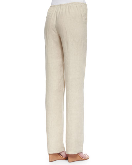Tissue Linen Straight-Leg Pants, Plus Size