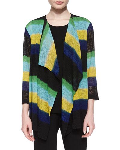 Striped Draped Knit Jacket, Women's