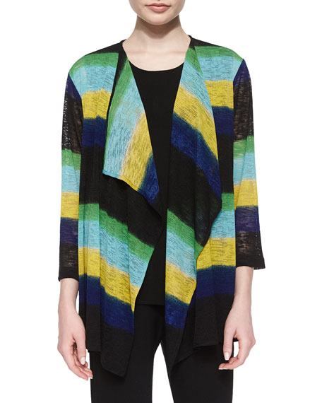 Caroline Rose Striped Draped Knit Jacket