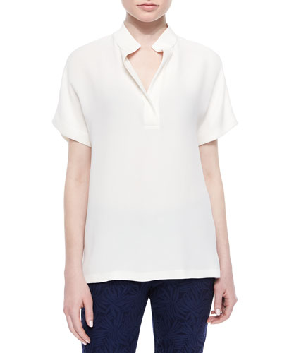 Reyn Short-Sleeve Blouse, Cloud