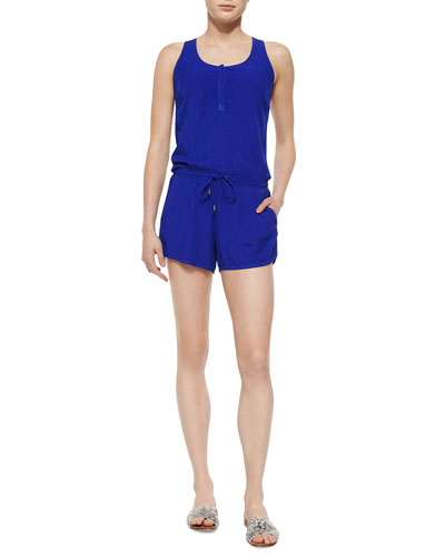 Sleeveless Cross-Back Romper, Cobalt