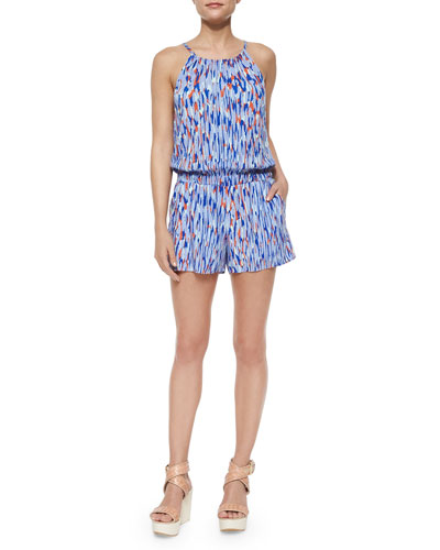 Graphic Tie-Back Romper, Cobalt/Multicolor