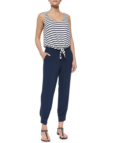 Striped Tie-Front Jumpsuit, Navy