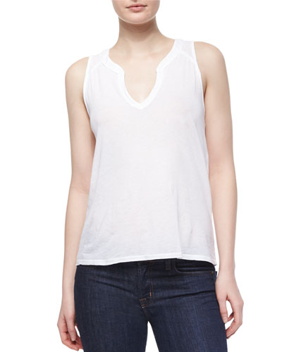 Knit Flared Tank, White