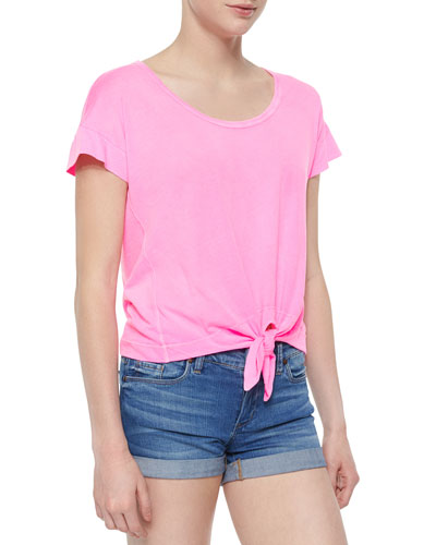 Jersey-Knit Tie-Front Tee, Neon Pink