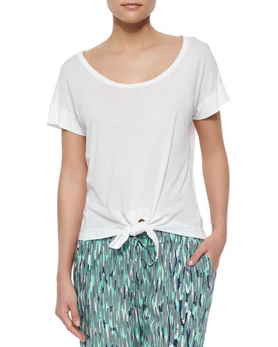 Jersey-Knit Tie-Front Tee, Paper