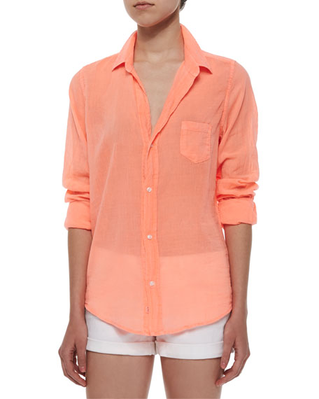 Barry Long-Sleeve Voile Shirt, Orange