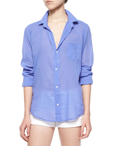 Barry Long-Sleeve Voile Shirt, Indigo
