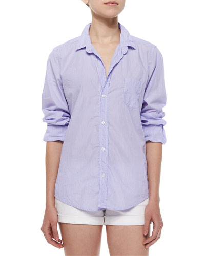 Barry Long-Sleeve Pinstripe Cotton Shirt, Blue/White