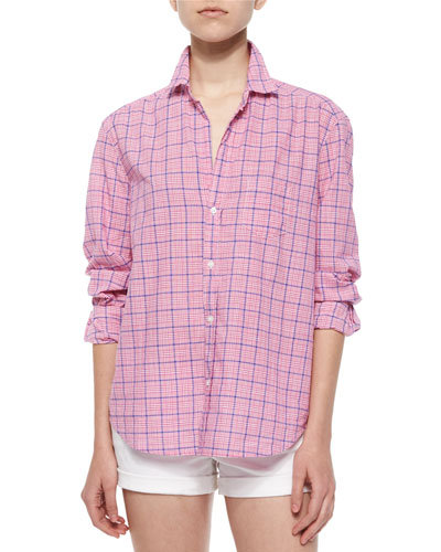 Eileen Long-Sleeve Plaid Cotton Shirt, Red