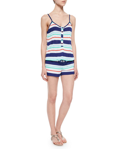 Topanga Striped Romper, Navy
