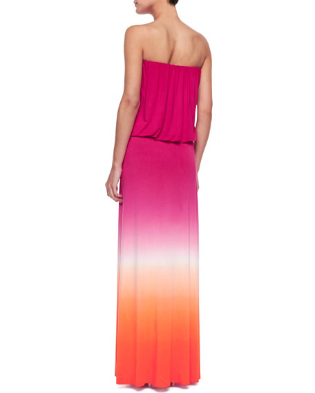Strapless Ombre Maxi Dress, Orange/Fuchsia