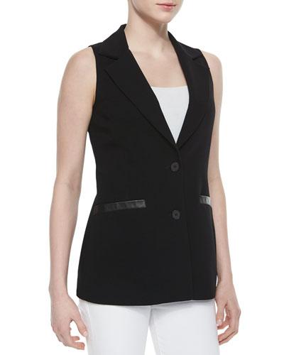 Attore Faux-Leather-Trim Vest, Black
