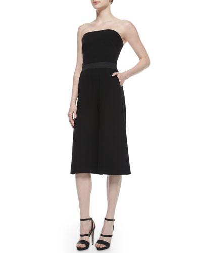 Cardinale Strapless Culotte Jumpsuit, Black